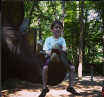 Declan rides a stegosaurus.